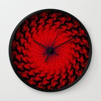 Red Space Spiral Fractal  Wall Clock