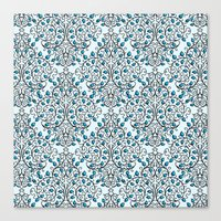 Damask Nature Blue Canvas Print