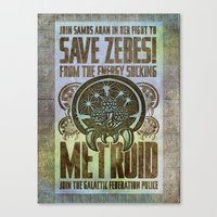 Save Zebes! Metroid Geek Art Vintage Poster Canvas Print