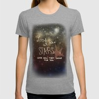 Stars Womens Fitted Tee Tri-Grey SMALL