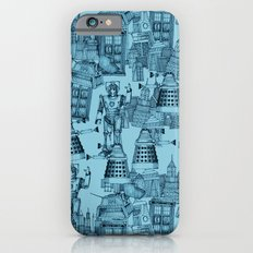 Doctor Who Toile de Jouy | 'Walking Doodle' | Turquoise Slim Case iPhone 6s