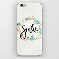 Smile, Watercolor Flowers iPhone & iPod Skin