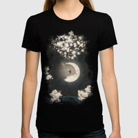 The Big Journey of the Man on the Moon  Womens Fitted Tee Black SMALL