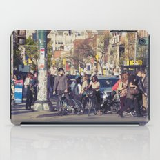 man in helmet stares wistfully across a busy intersection... iPad Case