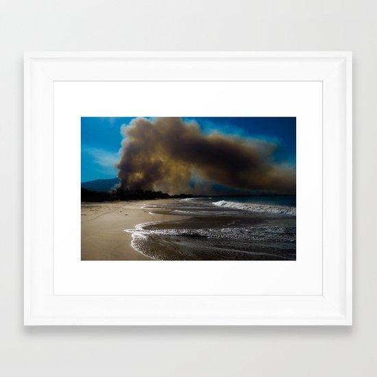 Brush fire and the beach  Framed Art Print