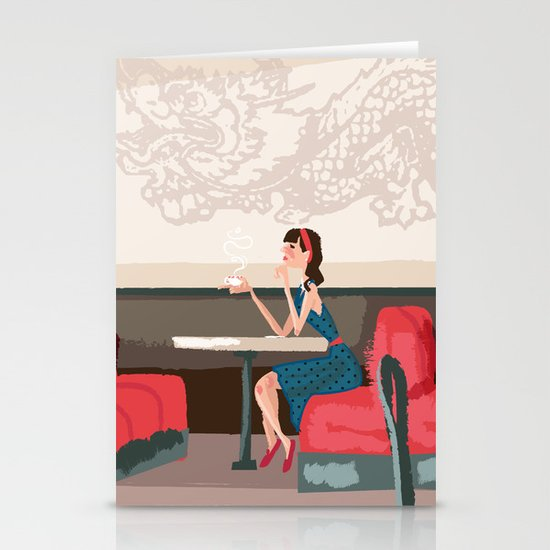 Sipping Green Tea at the Sushi House Stationery Card