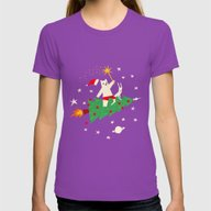 Space Christmas Womens Fitted Tee Ultraviolet MEDIUM