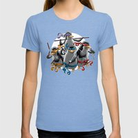 Ninja Penguins Womens Fitted Tee Tri-Blue SMALL