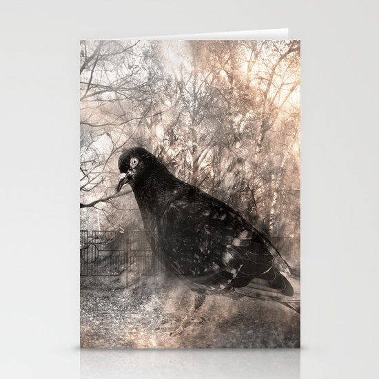 Black bird and the foggy path Stationery Card