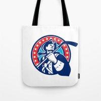American Patriot Ice Hockey Stick Circle Retro Tote Bag