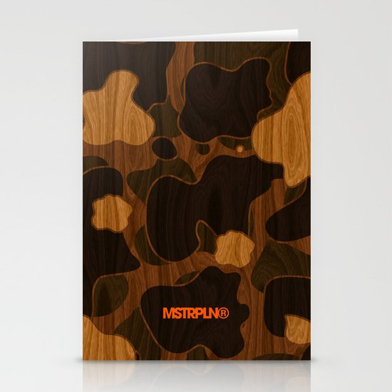 Modern Woodgrain Camouflage / Duck Print Stationery Card