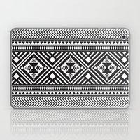 Monochrome Aztec inspired geometric pattern Laptop & iPad Skin
