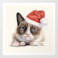 Grumpy Santa Cat Art Print