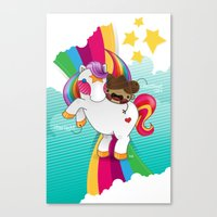 Chestnut Girl And Starlight Canvas Print
