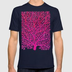 Fan Coral – Pink Ombré Mens Fitted Tee Navy SMALL