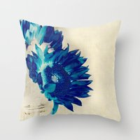 Sapphire Petal Throw Pillow
