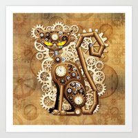 Steampunk Cat Vintage Style Art Print