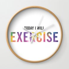 New Year's Resolution Poster - TODAY I WILL EXERCISE Wall Clock