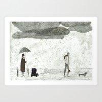 Umbrella Seller Art Print