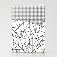 Abstract Outline Grid Bl… Stationery Cards
