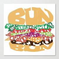 Word Drawing Burger Canvas Print