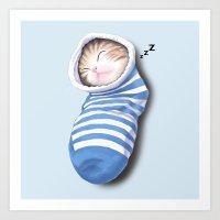 Cat In The Sock Art Print
