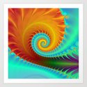 Toothed Spiral in Turquoise and Gold Art Print