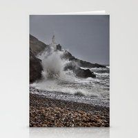 Stationery Card featuring Mumbles Wild Waves. by Becky Dix
