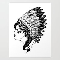 indian Art Prints featuring Indian by Joshua Bowers