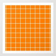 Grid (White/Orange) Art Print