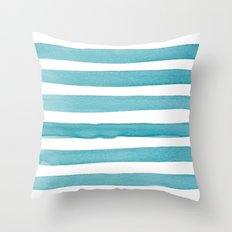 Watercolor Juicy Strokes: Teal Throw Pillow