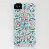 iPhone 4s & iPhone 4 Cases featuring Gypsy Floral in Red & Blue by micklyn