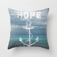 Hope Anchor Throw Pillow
