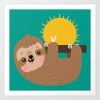 Happy Sloth Art Print