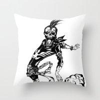 Fart Skull Flying Throw Pillow