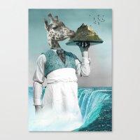 giraffe waiter with bombe alaska Canvas Print