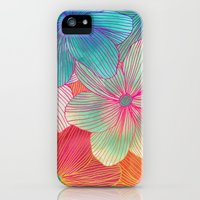 iPhone Cases featuring Between the Lines - tropical flowers in pink, orange, blue & mint by micklyn