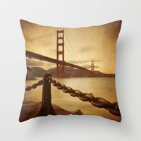 Vintage Golden Gate Throw Pillow