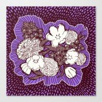Placed Floral: Mauve Brown Canvas Print