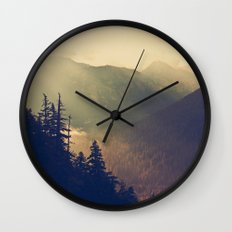 Sunrise over the Mountians Wall Clock
