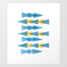 Blue & Yellow Arrows Art Print