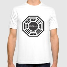 Dharma Initiative White Mens Fitted Tee SMALL