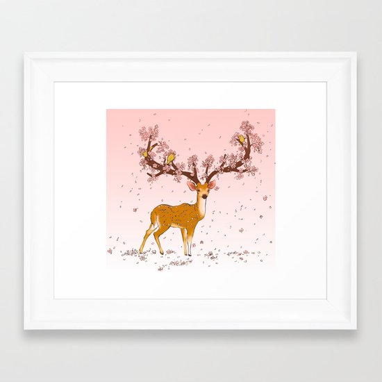 Blooming stag Framed Art Print