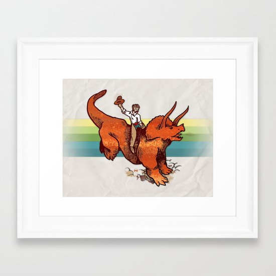 Dinosaur Cowboy Rodeo! Framed Art Print