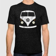Volkswagen Split Bus - V… Mens Fitted Tee Tri-Black SMALL