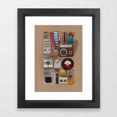 Stuff (wood background) Framed Art Print