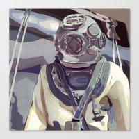 Navy Diver- Square Canvas Print