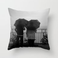 Couple At The Rain, B&w Throw Pillow