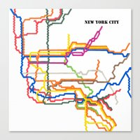 NYC Subway System (Complete) with Text Canvas Print