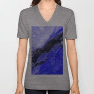 Unisex V-Neck featuring Blue And Black Abstract by Jen Warmuth Art And …